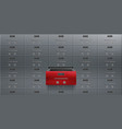 bank deposit safe boxes wall one red opened locker vector image
