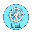 banner with inscription depicting ship s wheel vector image vector image