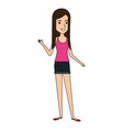 beautiful woman standing avatar character vector image vector image