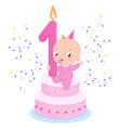 birthday cake and baby girl