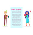 birthday greeting card couple celebrate party vector image vector image