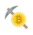bitcoin mining coin with pickaxe vector image vector image
