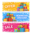 boxing day holiday gift boxes with ribbon xmas vector image vector image