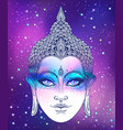 buddha face over ostarry cosmic background vector image