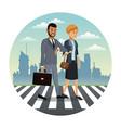 business couple walk street urban background vector image vector image