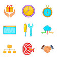capital investment icons set cartoon style vector image