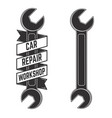 car repair workshop emblem template with car vector image