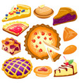 cartoon cake pie isolated vector image vector image