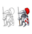 cartoon medieval knight with shield and spear