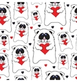 cats with hearts in hands seamless pattern vector image vector image