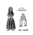church and skeleton in mexican woman national vector image