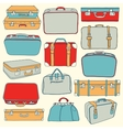 collection vintage suitcases vector image