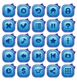 Cute cartoon blue square buttons set