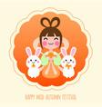 cute cartoon mid autumn festival card vector image vector image