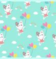 cute kitten holding balloon seamless pattern vector image