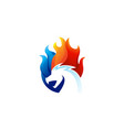 dragon fire red blue color logo icon vector image vector image