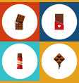 flat icon bitter set of sweet chocolate vector image vector image