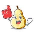 foam finger sliced fresh juicy pear mascot cartoon vector image
