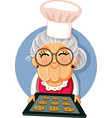 granny chef holding a tray homemade cookies vector image vector image