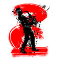 grunge saxophonist silhouette vector image