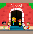happy school kids go to school vector image
