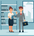head of company and secretary woman business vector image vector image