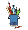 holder with pencils ruler and pens container vector image