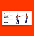 hussar characters dueling with guns landing page vector image