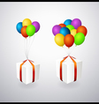 Isolated gift boxes with balloons vector | Price: 1 Credit (USD $1)