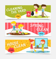 kids cleaning horizontal banners vector image vector image