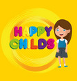 little girl happy childs label character vector image