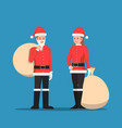 man and woman in santa claus suit vector image vector image
