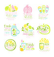 natural fresh juice product set of logo templates vector image vector image