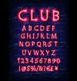 new modern neon set glowing alphabet vector image vector image
