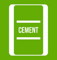 one bag of cement icon green vector image vector image