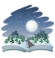 open book winter night theme vector image