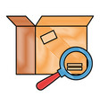 packing box carton with magnifying glass vector image vector image