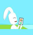 rabbit calling tortoise smart phone vector image vector image