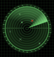 Radar and sonar screen detection monitor vector image