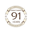 realistic ninety one years anniversary celebration vector image vector image