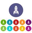 rocket retro icons set color vector image vector image