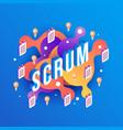 scrum text design - isometric vector image