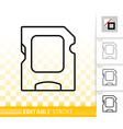 sd card simple black line icon vector image vector image