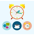 Set icons with speech bubble cup of tea vector image vector image