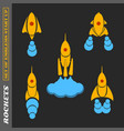 set of rockets for a startup on a black background vector image vector image
