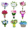 set of spring flowers vector image vector image