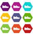 shoes icon set color hexahedron vector image