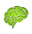 silhouette brain green vector image vector image