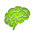 silhouette of the brain green vector image vector image