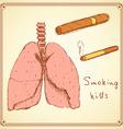 Sketch stop smoking set in vintage style vector image
